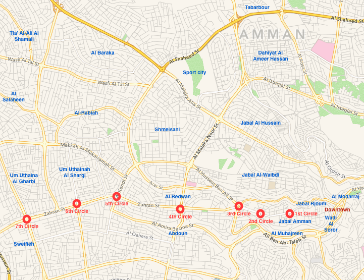 Amman map circles and neighborhoods